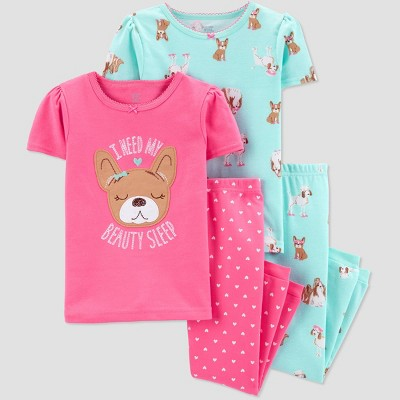 Baby Girls' 4pc Pink Dog Pajama Set - Just One You® made by carter's Pink/Aqua 12M