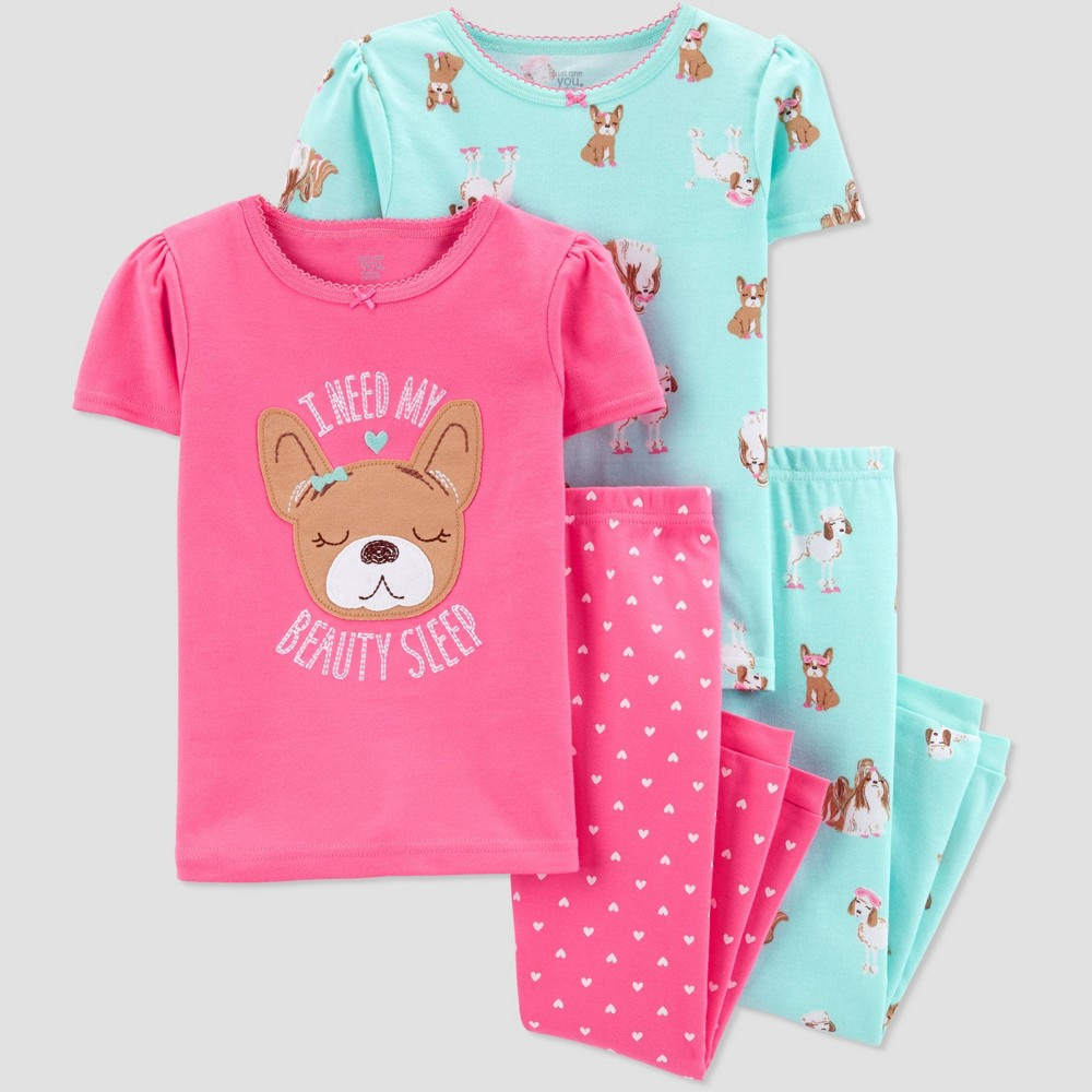 Baby Girls' 4pc Pink Dog Pajama Set - Just One You made by carter's Pink/Aqua 12M