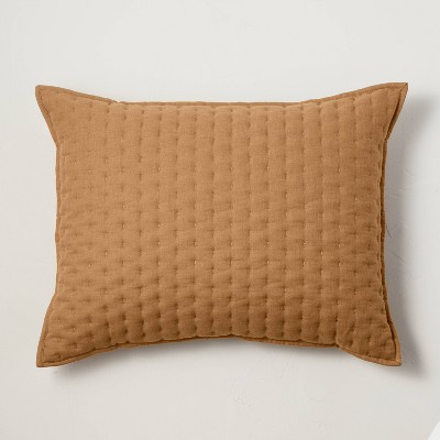 King Cashmere Blend Quilted Pillow Warm Brown - Casaluna™