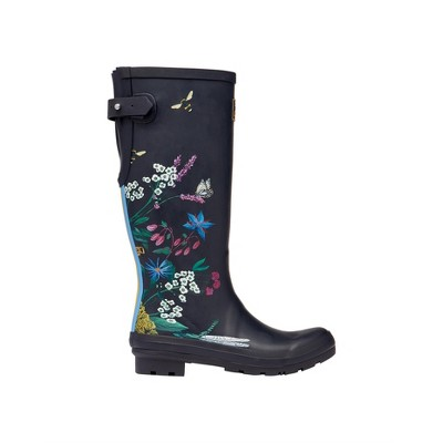 Joules Womens Printed Wellies With Adjustable Back Gusset