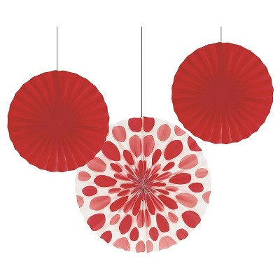 3ct Red Paper Fans Hanging Party Decorations