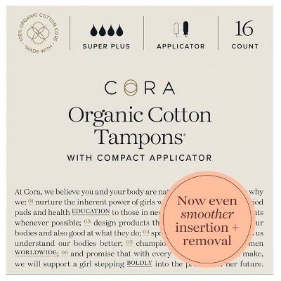 Cora Organic Cotton Tampons - Super Plus Absorbency - 16ct