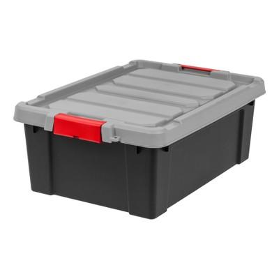 IRIS 10 Gal. Heavy Duty Plastic Storage Bin, Black