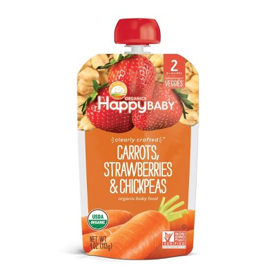 HappyBaby Clearly Crafted Carrots Strawberries & Chickpeas Baby Food - 4oz