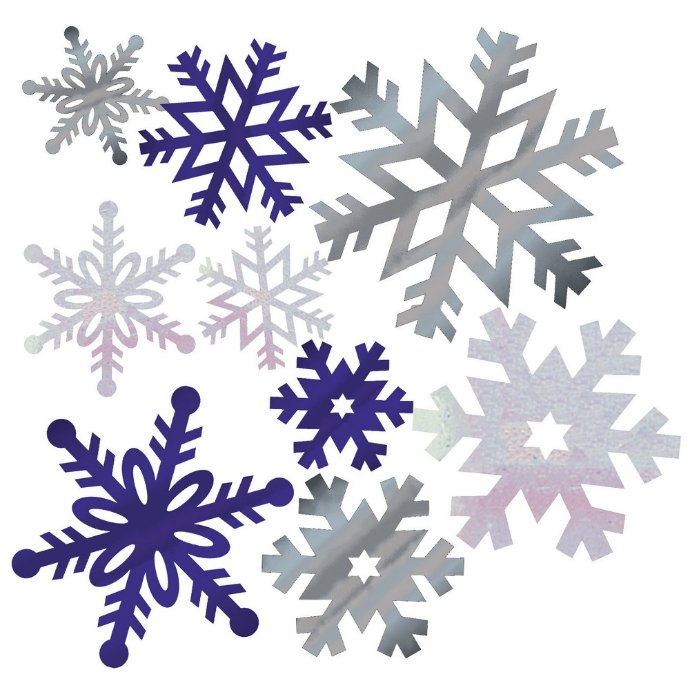 Image of 12ct Foil Snowflake Cutouts Silver, Silver Blue