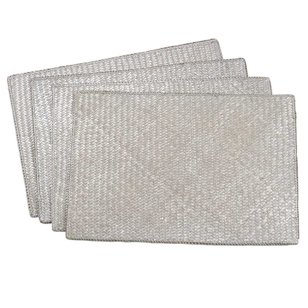 Image of Silver Solid Placemat - Saro Lifestyle