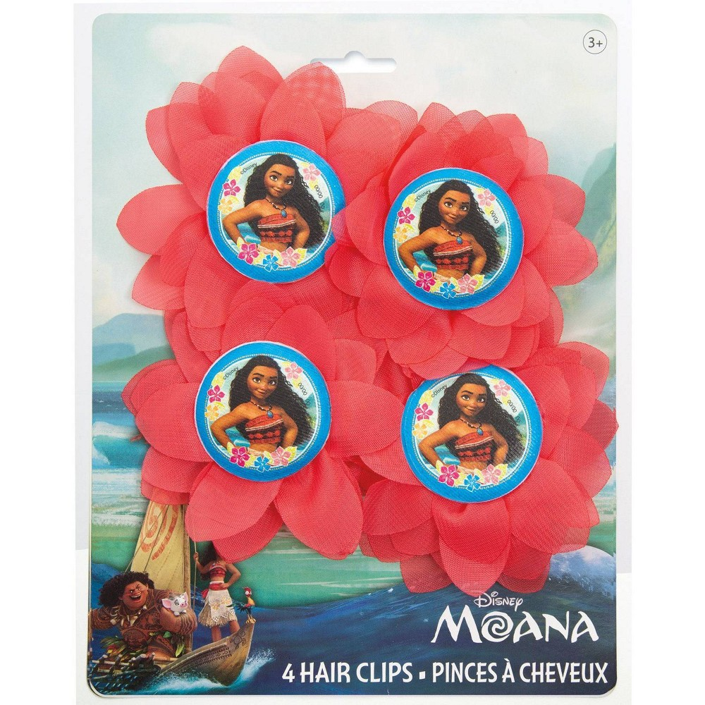 Image of Moana 4ct Flower Hair Clips Party Favors