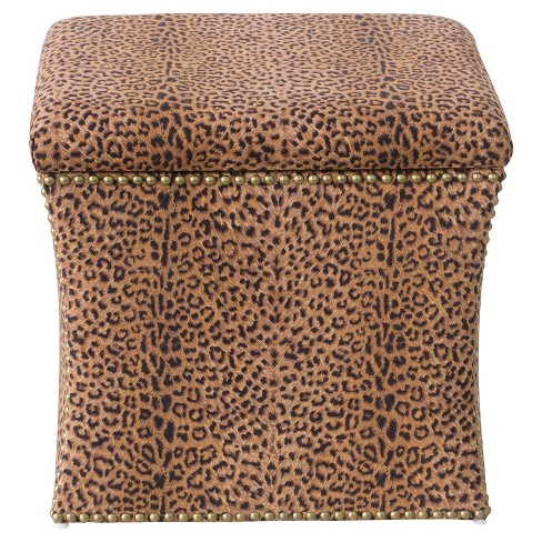 Swell Nail Button Storage Ottoman Leopard Spot Earth Brass Nail Buttons Skyline Furniture Ncnpc Chair Design For Home Ncnpcorg