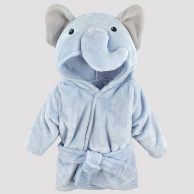 Hudson Baby Plush Elephant Bathrobe - Blue 0-9M
