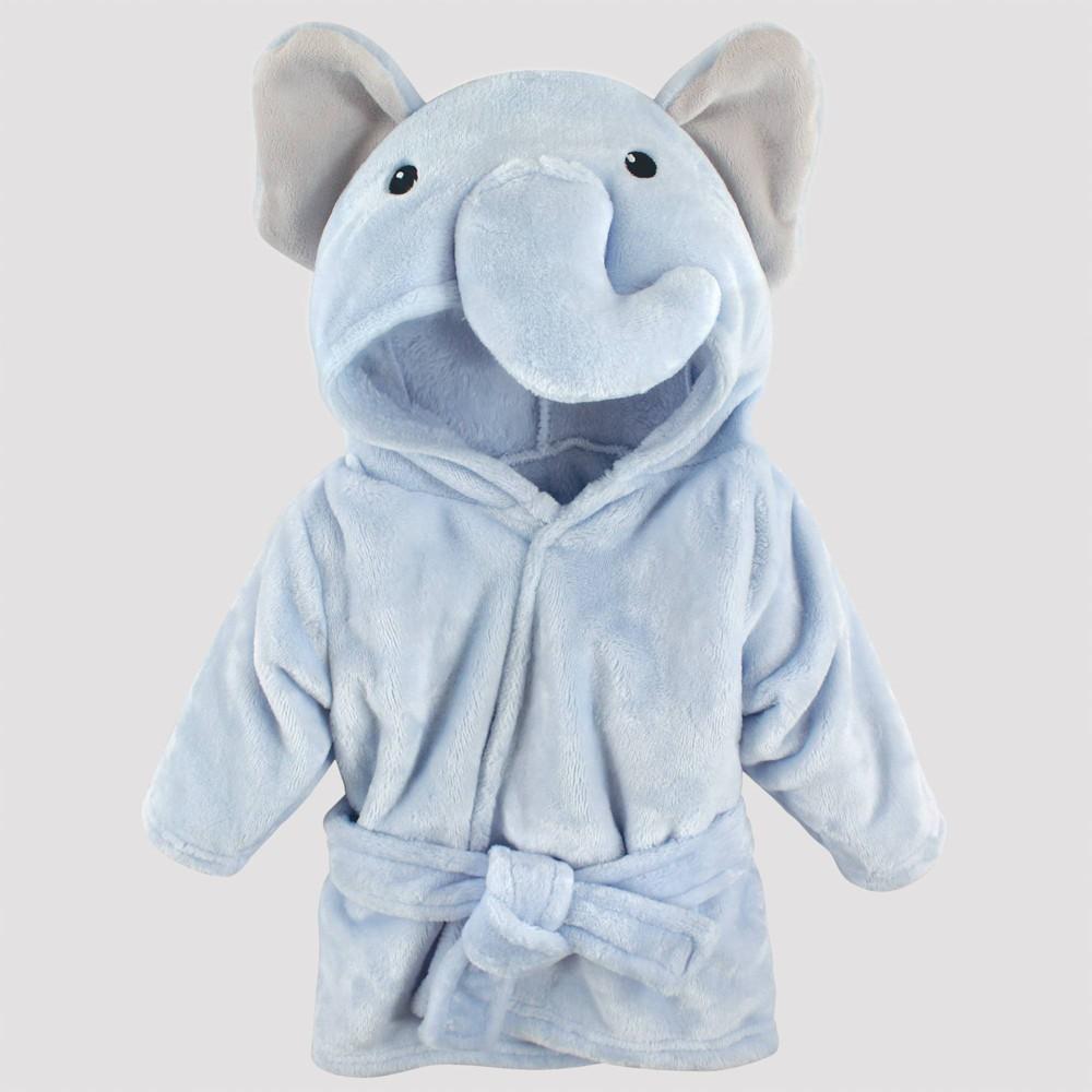 Image of Hudson Baby Plush Elephant Bathrobe - Blue 0-9M