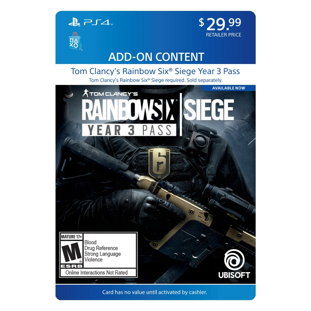 Rainbow Six: Siege Year 3 Pass - PlayStation 4 (Digital) How download codes work: You'll receive an email with a download code and instructions on how to redeem your purchase directly on your console or online through your console's website.