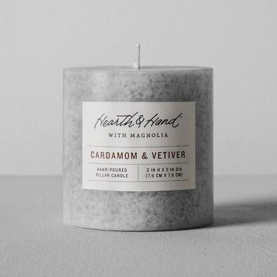 Pillar Candle (3 x3 )- Cardamom & Vetiver - Hearth & Hand™ with Magnolia