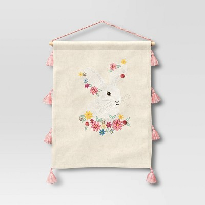 "18"" x 14"" Embellished Easter Bunny Wall Art Natural - Opalhouse™"