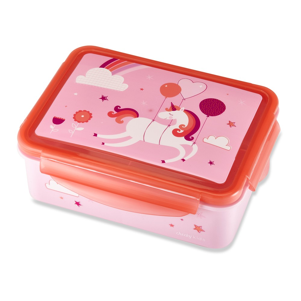 "Image of ""Cheeky Plastic Kids Bento Box 7.2"""" x 5.3"""" Unicorn - Pink/Red"""