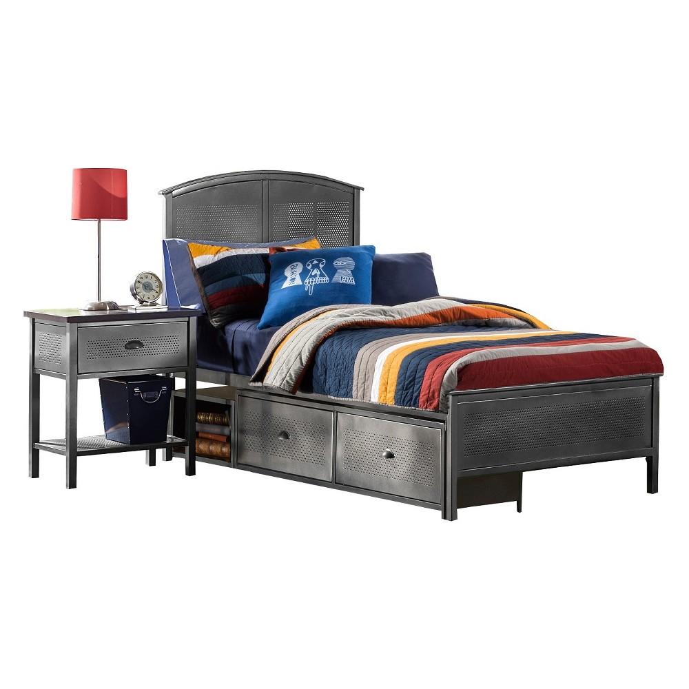 Urban Quarters Metal Panel Storage Bed - Twin - Black Steel - Hillsdale Furniture