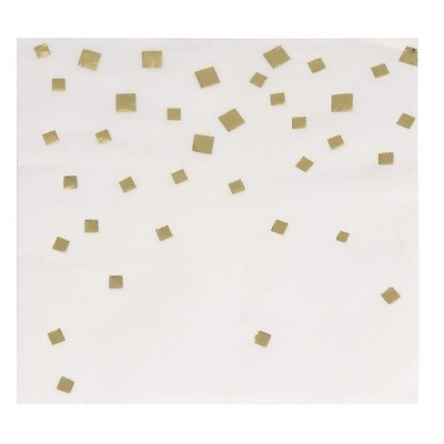 Juvale 50 Pack of Gold Foil Confetti Squares Disposable Paper Cocktail Napkins (5 x 5 Inches)
