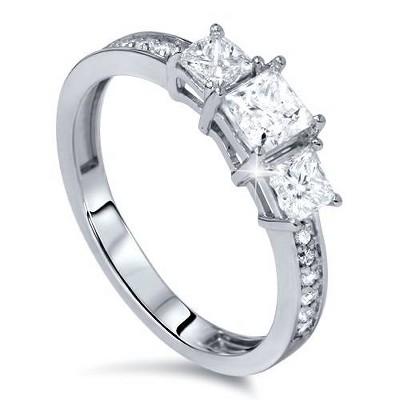 Pompeii3 1/4ct Three Stone Princess Cut Diamond Engagement Ring 14K White Gold
