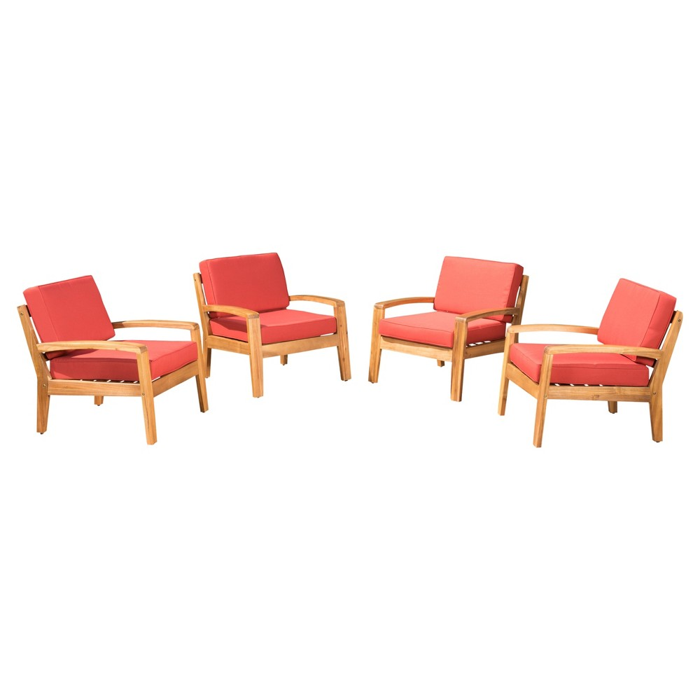Grenada 4pk Wooden Patio Club Chairs w/ Cushions - Red - Christopher Knight Home