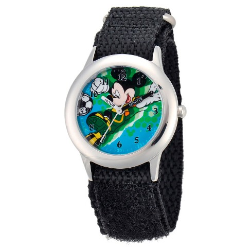 Boys' Disney Mickey Mouse Stainless Steel Plain Case Watch - Black - image 1 of 2
