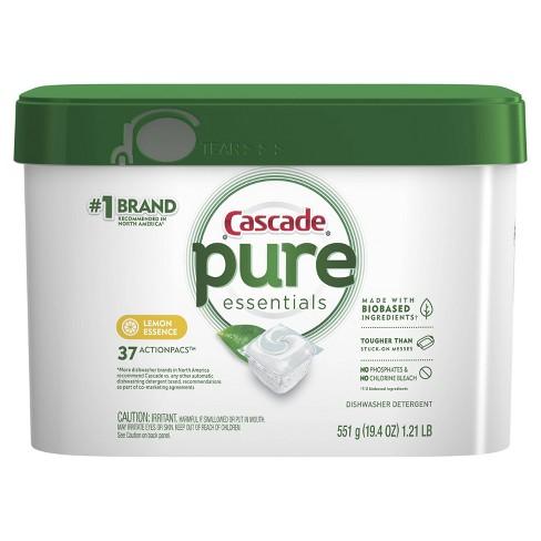 Cascade Pure Essentials Actionpacs Lemon Dishwasher Detergent 37ct