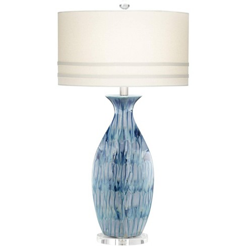 Possini Euro Design Coastal Table Lamp Ceramic Blue Drip Vase Handcrafted Off White Oval Shade For Living Room Family Bedroom Target