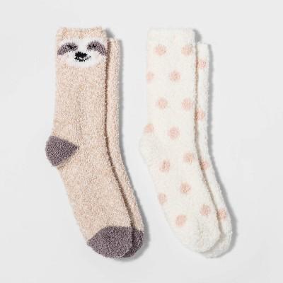 womens-2pk-sloth-cozy-crew-socks---tan-one-size by target