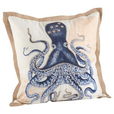 Navy Blue Octopus Print Cotton Throw Pillow (20 )- Saro Lifestyle®