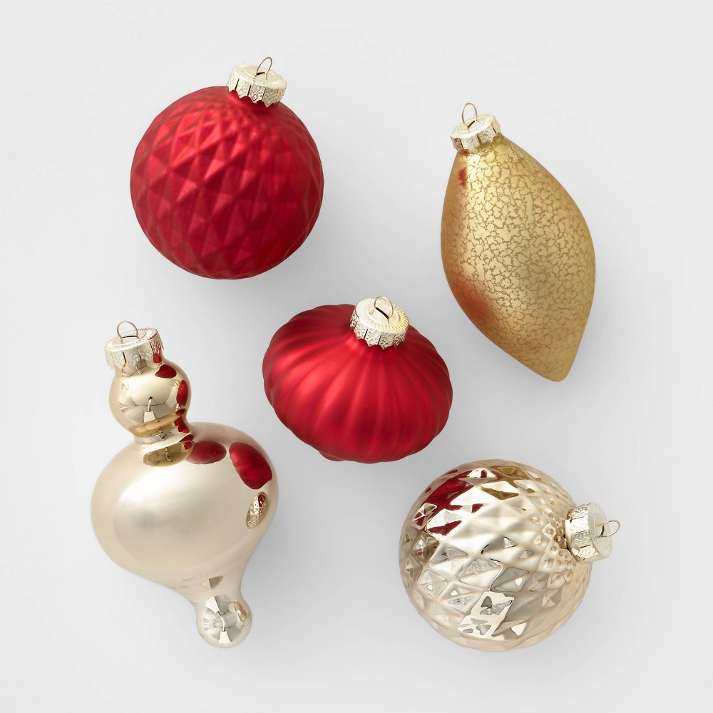 Image of 10ct Glass Assorted Christmas Ornament Red and Gold - Wondershop