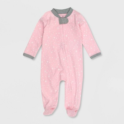 Honest Baby Girls' Organic Cotton Twinkle Star Sleep N' Play - Pink Newborn