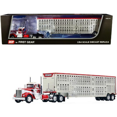 """Kenworth W900A Day Cab w/Wilson Silver Star Livestock Tandem-Axle Trailer """"Koppes Truck Line"""" Red & White 1/64 by DCP/First Gear"""