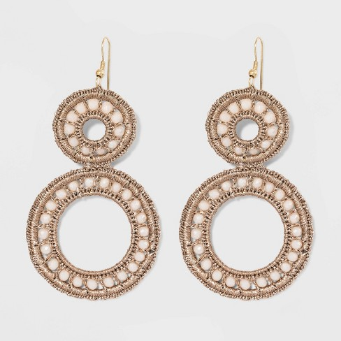 Beaded Woven Drop Circle Earrings - A New Day™ Rose Gold - image 1 of 3