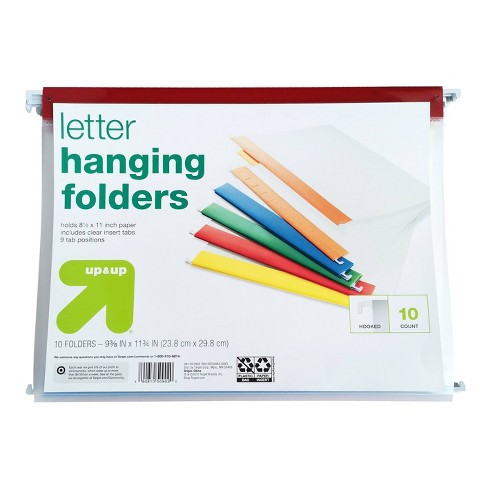 10ct Hanging File Folders Letter Size Multicolor - Up&Up™ - image 1 of 3