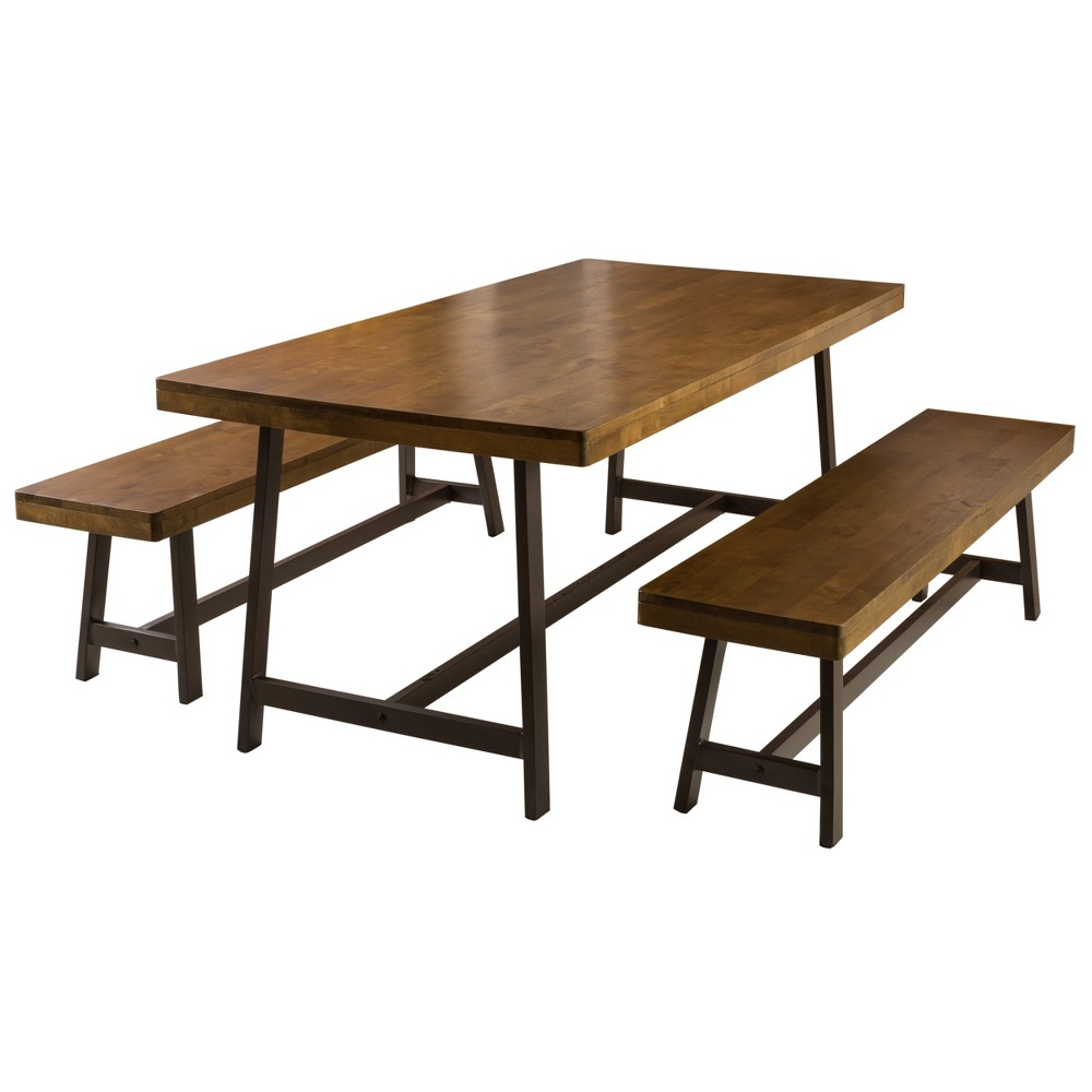 Marion 3 Piece Foldable Picnic Dining Set Brown Oak - Christopher Knight Home, Oak Brown