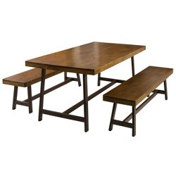 Marion 3 Piece Foldable Picnic Dining Set Brown Oak - Christopher Knight Home