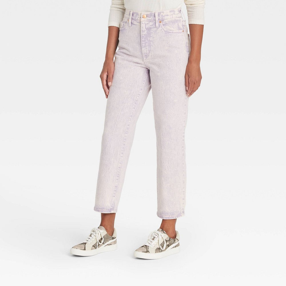 Women 39 S Super High Rise Vintage Straight Cropped Jeans Universal Thread 8482 Light Purple 14 Short