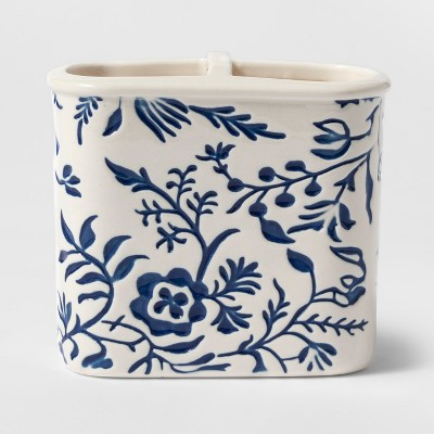 Ceramic Glazed Pattern Toothbrush Holder Blue - Threshold™