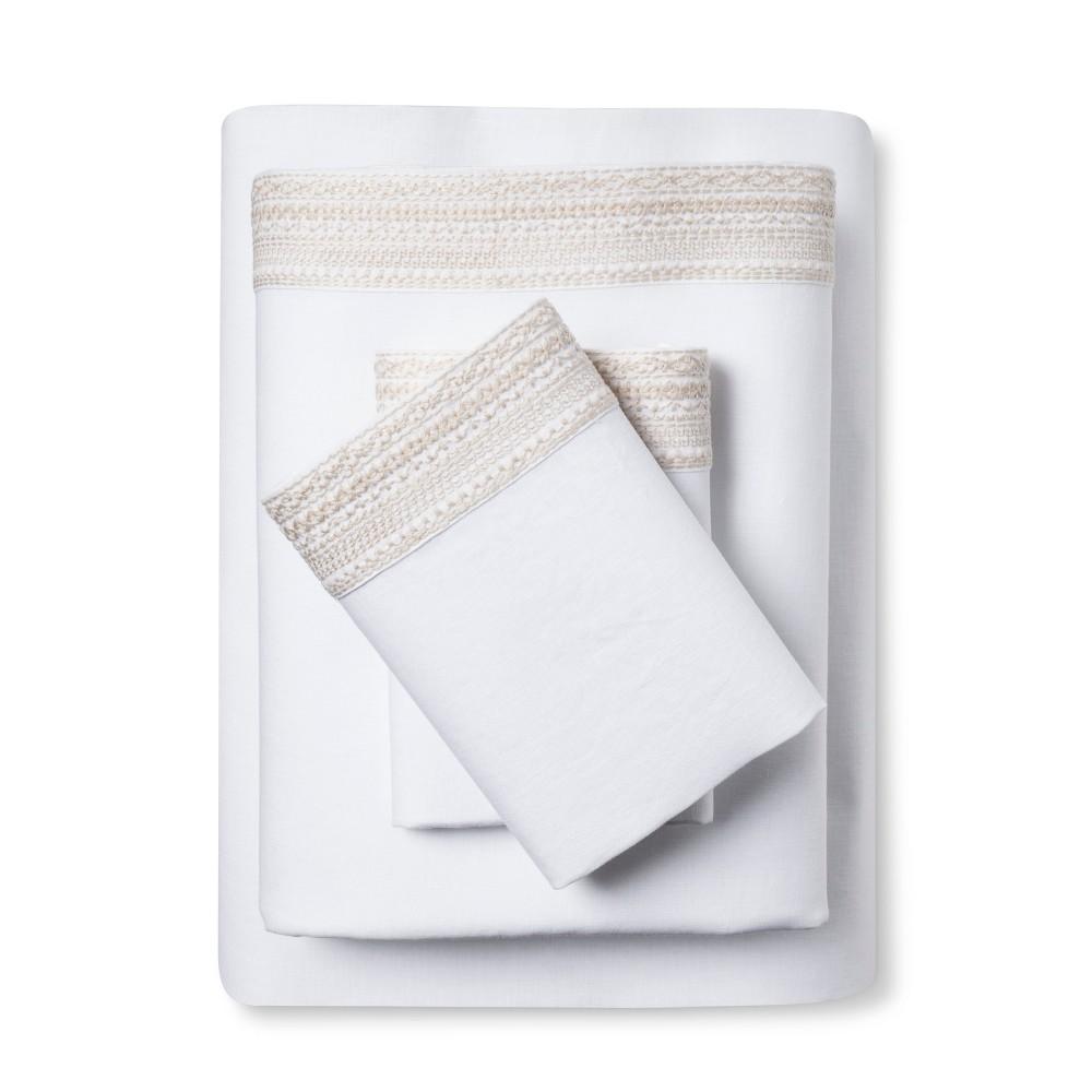 Image of 100% Linen Sheet Set (King) Sea Salt (Blue) - Fieldcrest