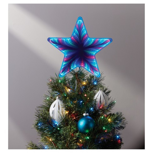 12 Lit Infinity Functions Star Tree Topper Red Green Blue Wonder
