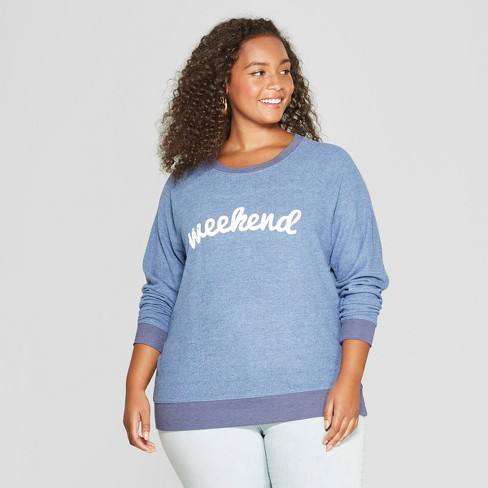 774051b538a Women s Plus Size Weekend Graphic Pullover Sweatshirt - Grayson Threads  (Juniors ) Blue