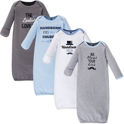 Hudson Baby Infant Boy Cotton Long-Sleeve Gowns 4pk, Handsome Fella, 0-6 Months