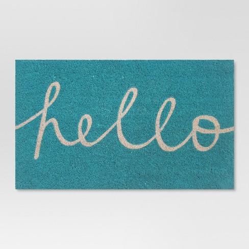 "Blue Hello Cursive Doormat 1'6""x2'6"" - Room Essentials™ - image 1 of 2"