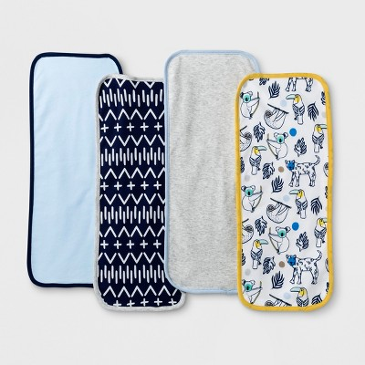 Baby Boys' 4pk Gone Wild Burp Cloth Set - Cloud Island™ Blue