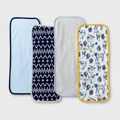 Baby Boys' 4pk Gone Wild Burp Cloth Set - Cloud Island™ Blue