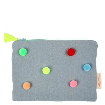 Meri Meri - Chambray Pompom Pouch - Handbags - 1ct