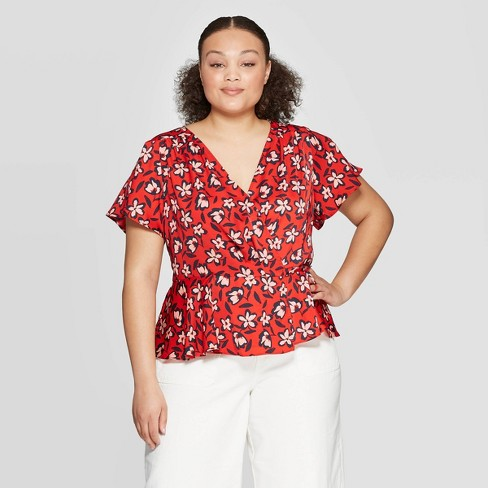 a38904db3461ac Women's Plus Size Floral Print Short Flutter Sleeve V-Neck Wrap Top - Who  What Wear™ Red : Target