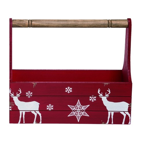 Transpac Wood 15 in. Red Christmas Panel Nordic Reindeer Container - image 1 of 1