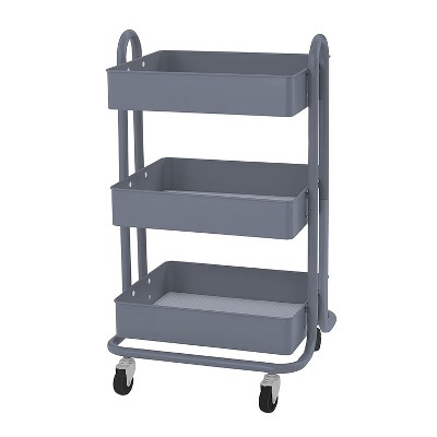 ECR4Kids 3 Tier Metal Rolling Storage Organizer Utility Cart with 4 Rolling Caster Wheels for Office, Kitchen, and Bathroom, Gray
