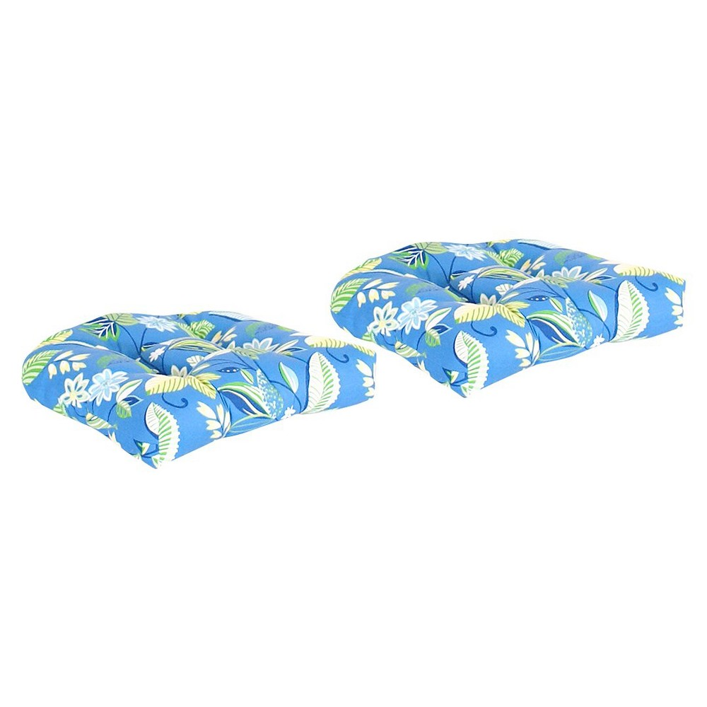 Image of 2-Piece Outdoor Wicker Conversation/Deep Seating Cushion Set - Blue/Green Floral