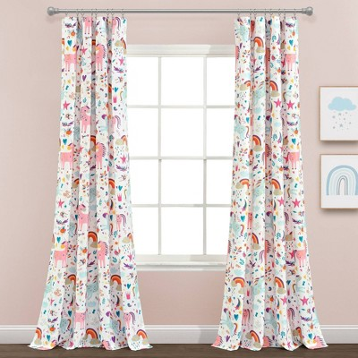 "84""x52"" Set of 2 Unicorn Heart Window Curtain Panels - Lush Décor"