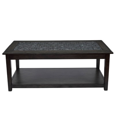 Cocktail Table with Marble Tile Inlay and Lower Shelf Gray - Benzara